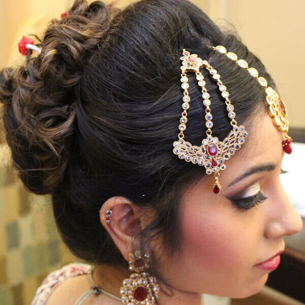 A Beautiful Bride with Hair and Jewelry Setting
